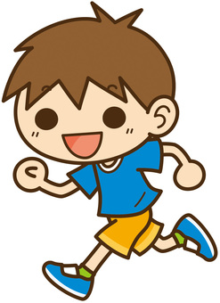 Boy running with a smile