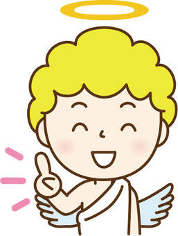 An angel pointing to a finger