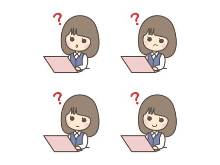 노트북 PC를 전에 의문을 느끼고있는 여성