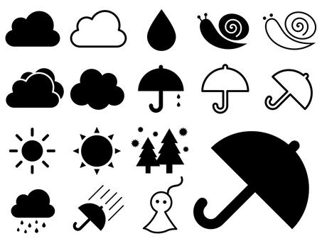 梅雨イメージアイコン(雨、傘、花粉等)
