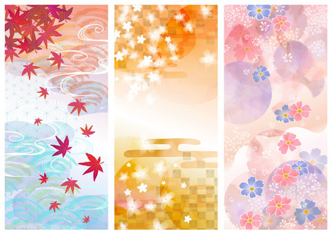 Japanese pattern material 012 background set