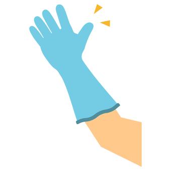 Hand wearing nitrile gloves