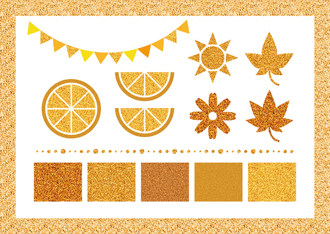 Orange glitter set