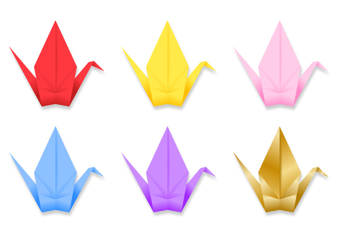 Folded paper crane color set