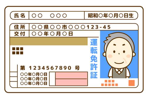 Senior male driver's license