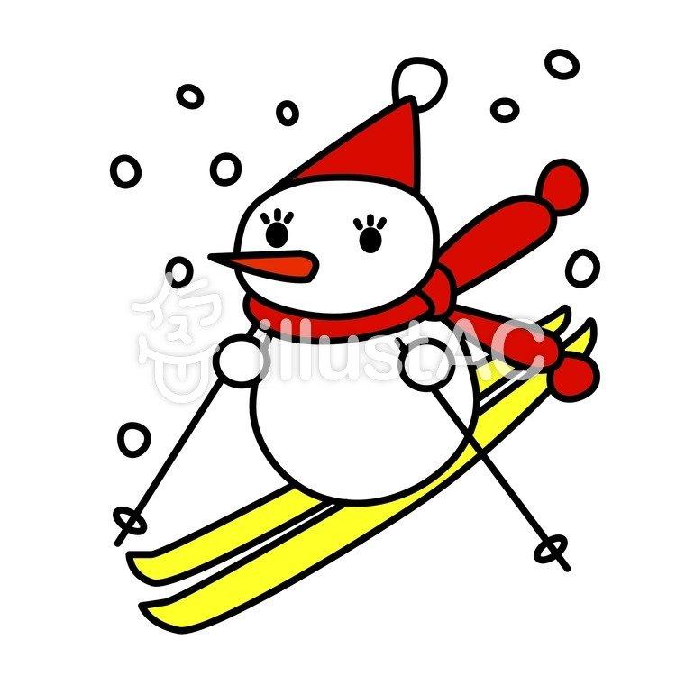 スキーする雪だるまイラスト No 341721無料イラストならイラストac