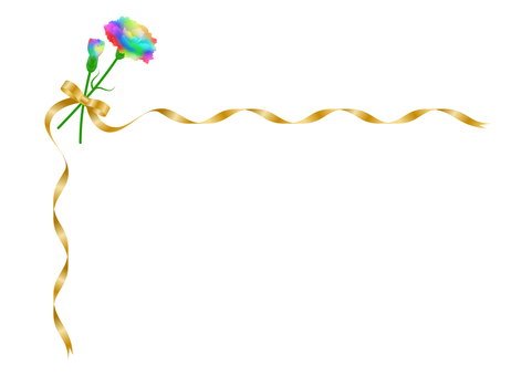 Rainbow carnation and gold ribbon