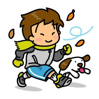 Under the autumn sky, running boys and wanko