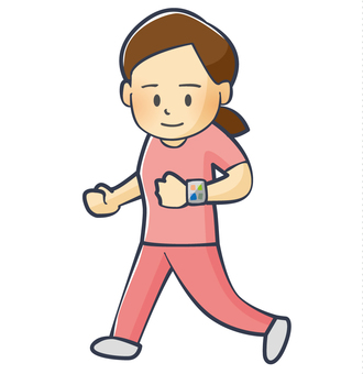 A woman running while watching a smart watch