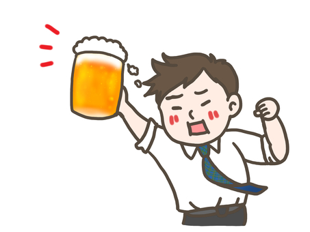 Cheers with beer Salaryman