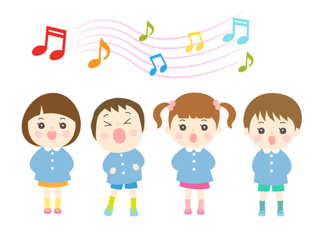 Boys and girls singing songs