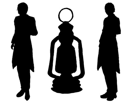 Old butler and lamp silhouette