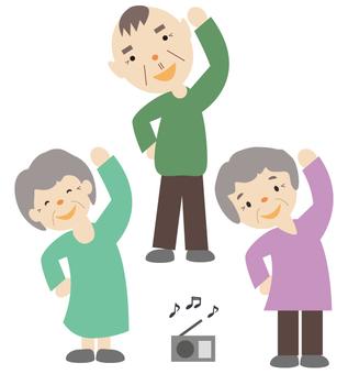 Seniors playing radio exercises