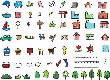 Hand-drawn map icon set black line color