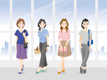 Office casual women and office background