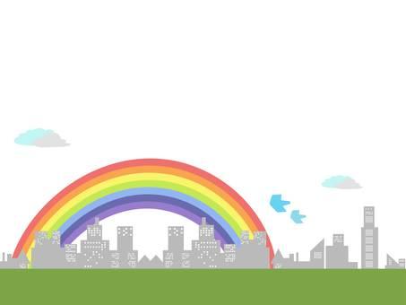 城市上空的彩虹