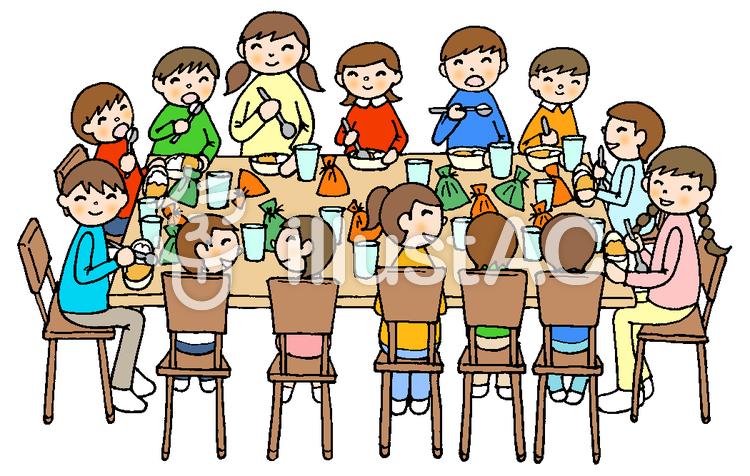 食事会 14子供達 飾り無しライン黒イラスト No 708860無料