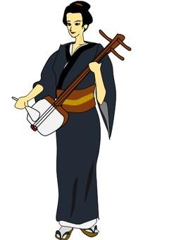 샤미센을 연주하는 여성
