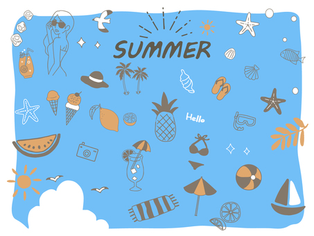 Handwritten summer illustration set 3
