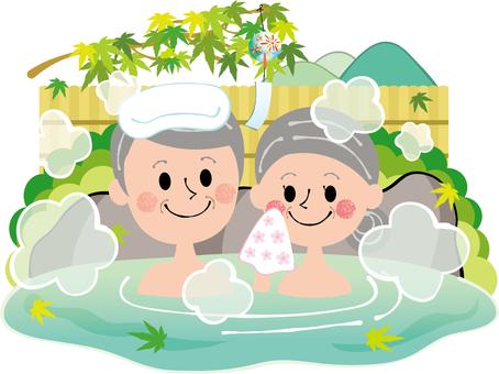 Summer fresh green maple elderly couple couple hot spring outdoor bath rock