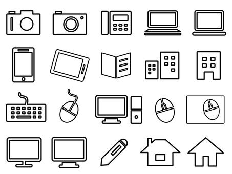 Business icon set (PC, camera etc)