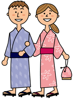 Couple walking in yukata