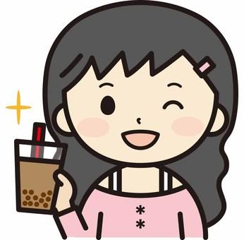 Woman with tapioca milk tea