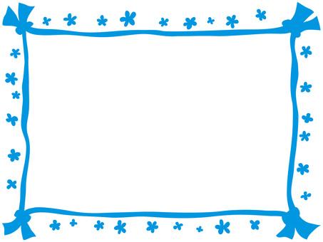 Decorative frame ribbon · flower blue