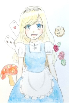 Alice in Wonderland in watercolor