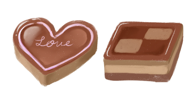 Heart and square chocolate