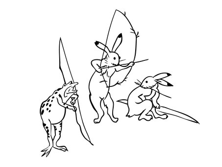 Wildlife Caricature Rabbit Frog Bow Line Art Animal