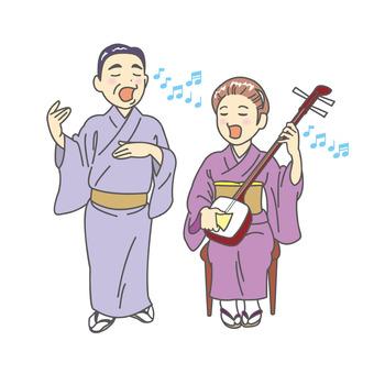 Folk song and shamisen