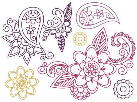Asian paisley pattern and flower mandala