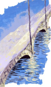 Megane Bridge with snow
