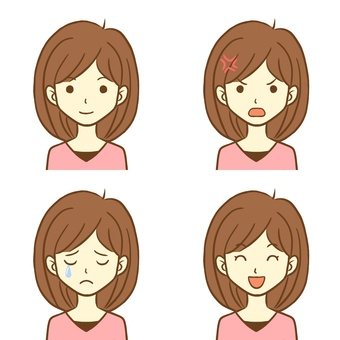 Four facial expressions of women