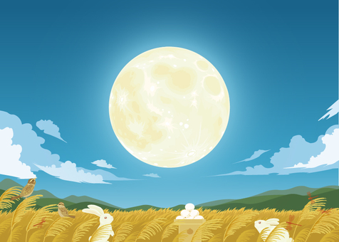 Moon viewing background illustration