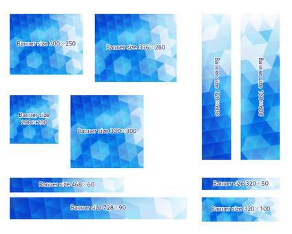Blue polygon banner frame background set