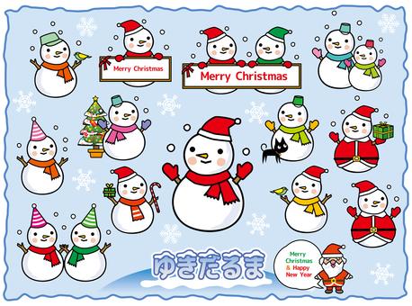 Various sets of snowmen