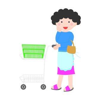 Housewife grabbing cart