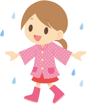 Girl in raincoat and boots