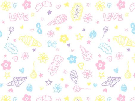 Graffiti style baby pastel pattern