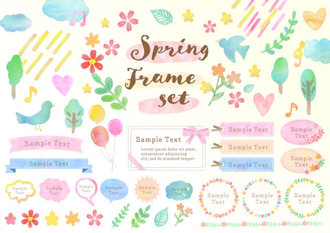 Season material 078 Spring watercolor frame