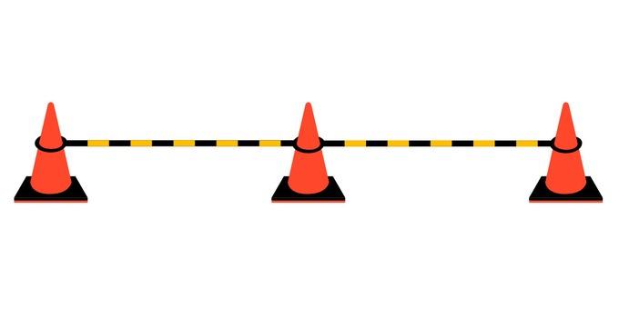 Construction color cone diagonally above (with bar)