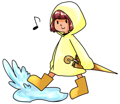 A child of a raincoat kicking the puddle of rain