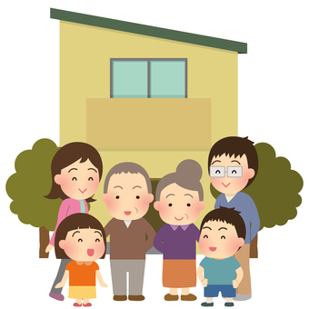 Illustration of 3 generations family and my home