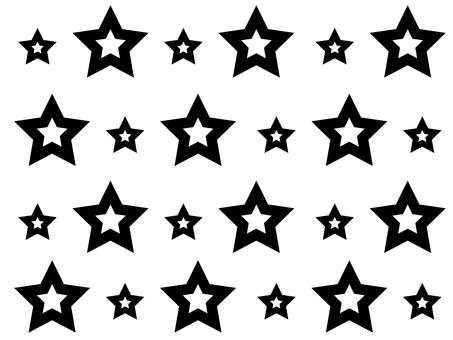 2 size Star pattern (black)