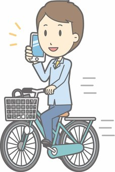 Bicycle man - bicycle smartphone - whole body