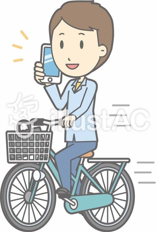 自転車男性-自転車スマホ-全身のイラスト