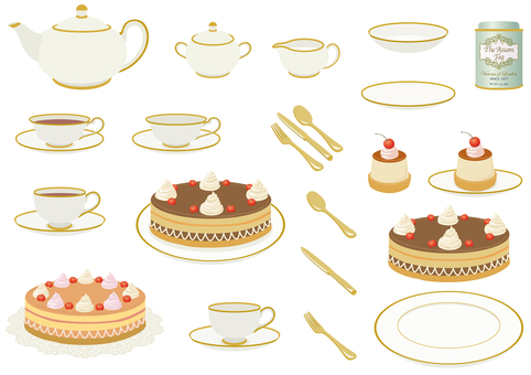 Tea set Tea set, cake and tea can
