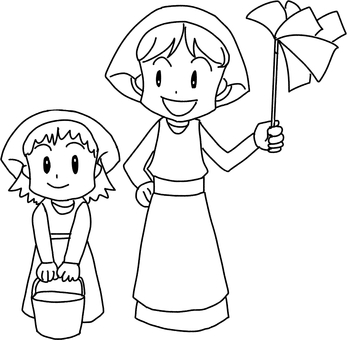 Cleaning with parent and child (line drawing)